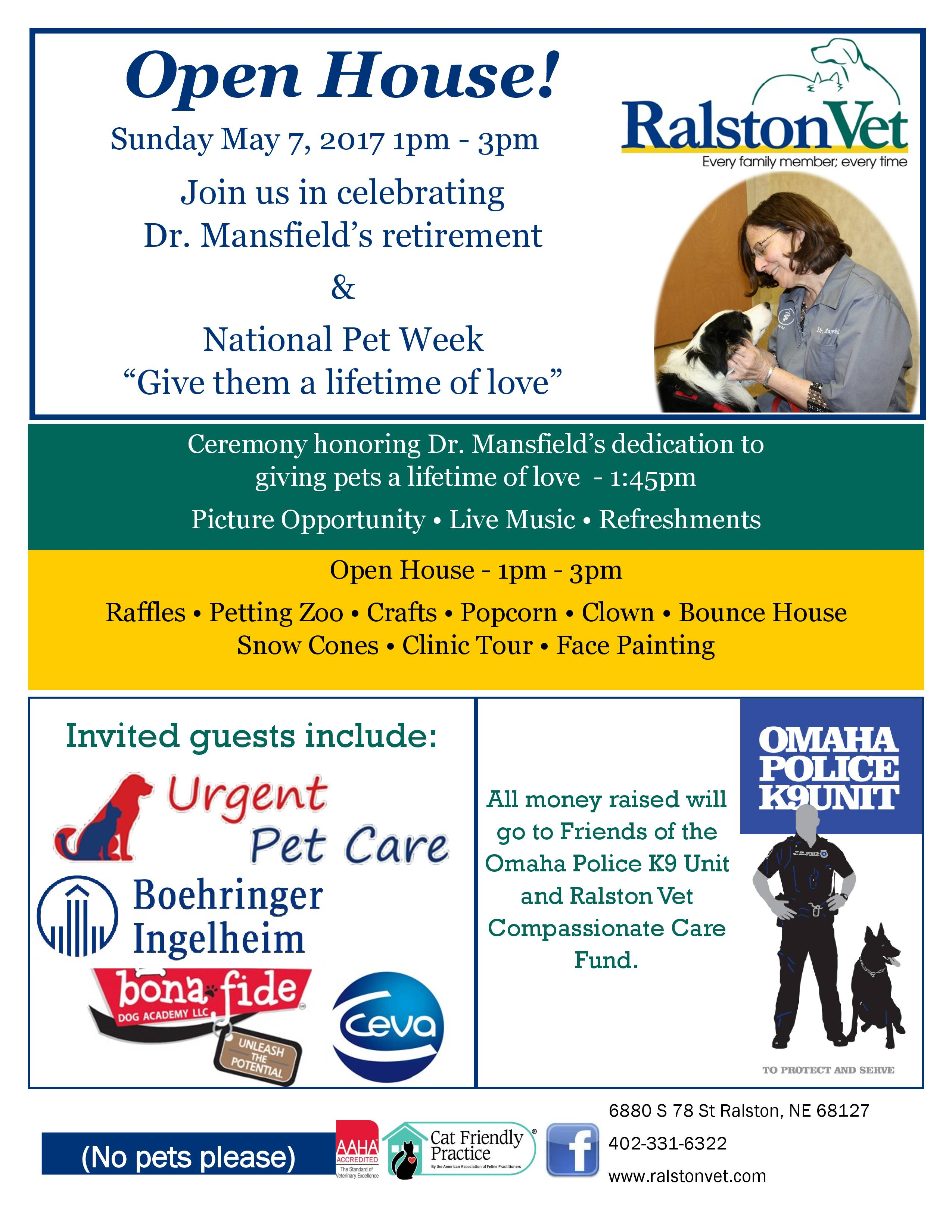 events pets in omaha and national pet week there will be raffles activities for kids and more funds raised through activities benefit area k9 cops see flyer below for